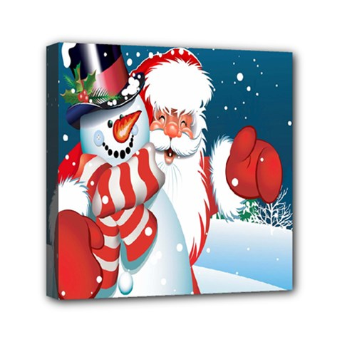 Hello Merry Christmas Santa Claus Snow Blue Sky Mini Canvas 6  X 6