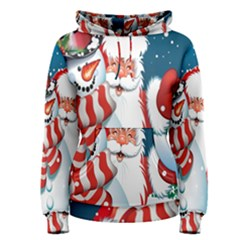 Hello Merry Christmas Santa Claus Snow Blue Sky Women s Pullover Hoodie