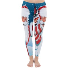 Hello Merry Christmas Santa Claus Snow Blue Sky Classic Winter Leggings