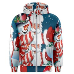 Hello Merry Christmas Santa Claus Snow Blue Sky Men s Zipper Hoodie