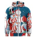 Hello Merry Christmas Santa Claus Snow Blue Sky Men s Zipper Hoodie View1