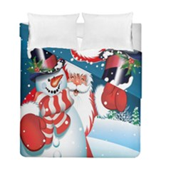 Hello Merry Christmas Santa Claus Snow Blue Sky Duvet Cover Double Side (full/ Double Size) by Alisyart