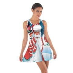 Hello Merry Christmas Santa Claus Snow Blue Sky Cotton Racerback Dress by Alisyart