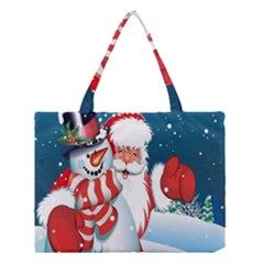 Hello Merry Christmas Santa Claus Snow Blue Sky Medium Tote Bag by Alisyart