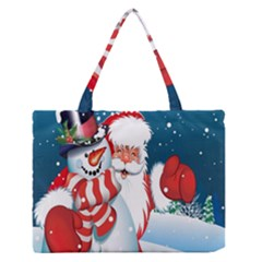 Hello Merry Christmas Santa Claus Snow Blue Sky Zipper Medium Tote Bag by Alisyart