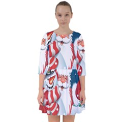 Hello Merry Christmas Santa Claus Snow Blue Sky Smock Dress by Alisyart