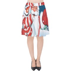 Hello Merry Christmas Santa Claus Snow Blue Sky Velvet High Waist Skirt by Alisyart