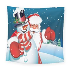 Hello Merry Christmas Santa Claus Snow Blue Sky Square Tapestry (large) by Alisyart