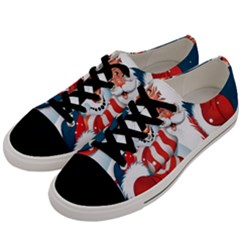 Hello Merry Christmas Santa Claus Snow Blue Sky Men s Low Top Canvas Sneakers by Alisyart