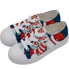Hello Merry Christmas Santa Claus Snow Blue Sky Kids  Low Top Canvas Sneakers by Alisyart