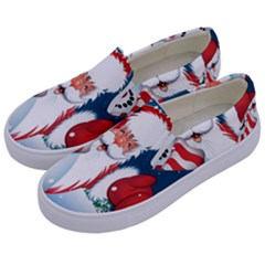 Hello Merry Christmas Santa Claus Snow Blue Sky Kids  Canvas Slip Ons by Alisyart