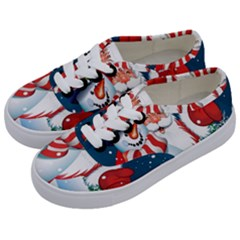 Hello Merry Christmas Santa Claus Snow Blue Sky Kids  Classic Low Top Sneakers by Alisyart