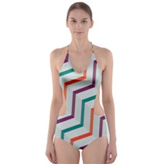 Line Color Rainbow Cut Out One Piece Swimsuit