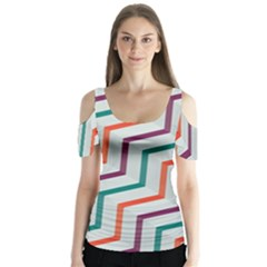 Line Color Rainbow Butterfly Sleeve Cutout Tee  by Alisyart