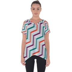 Line Color Rainbow Cut Out Side Drop Tee