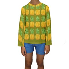 Fruite Pineapple Yellow Green Orange Kids  Long Sleeve Swimwear by Alisyart