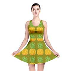 Fruite Pineapple Yellow Green Orange Reversible Skater Dress