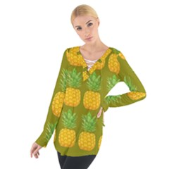 Fruite Pineapple Yellow Green Orange Tie Up Tee by Alisyart