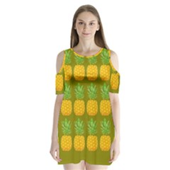 Fruite Pineapple Yellow Green Orange Shoulder Cutout Velvet One Piece