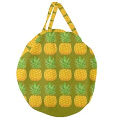 Fruite Pineapple Yellow Green Orange Giant Round Zipper Tote by Alisyart