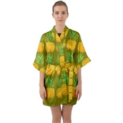 Fruite Pineapple Yellow Green Orange Quarter Sleeve Kimono Robe by Alisyart
