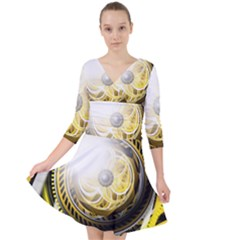 Incredible Eye Of A Yellow Construction Robot Quarter Sleeve Front Wrap Dress	 by jayaprime
