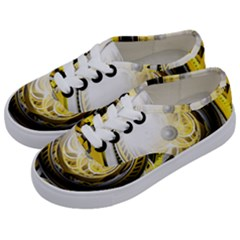 Incredible Eye Of A Yellow Construction Robot Kids  Classic Low Top Sneakers by jayaprime