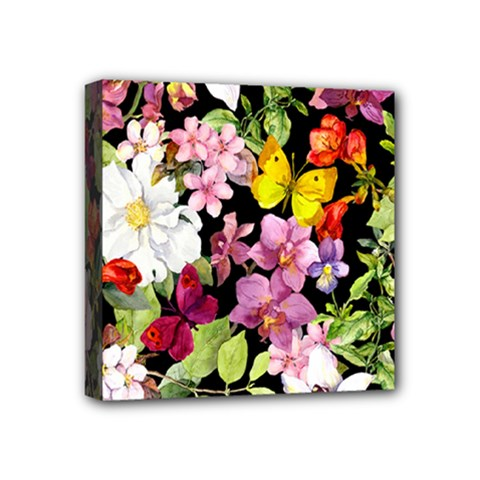 Beautiful,floral,hand painted, flowers,black,background,modern,trendy,girly,retro Mini Canvas 4  x 4