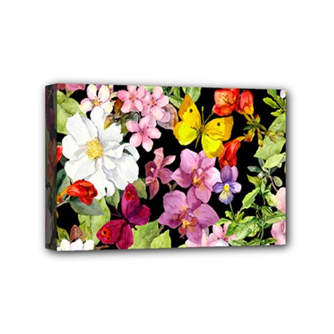 Beautiful,floral,hand painted, flowers,black,background,modern,trendy,girly,retro Mini Canvas 6  x 4