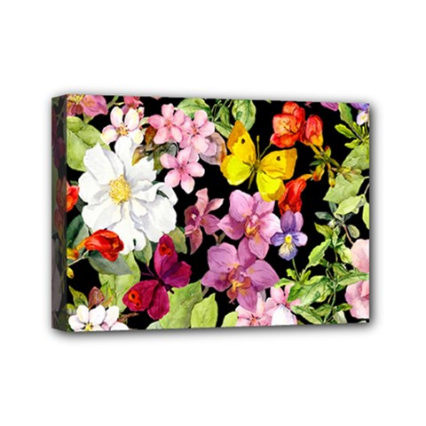 Beautiful,floral,hand painted, flowers,black,background,modern,trendy,girly,retro Mini Canvas 7  x 5