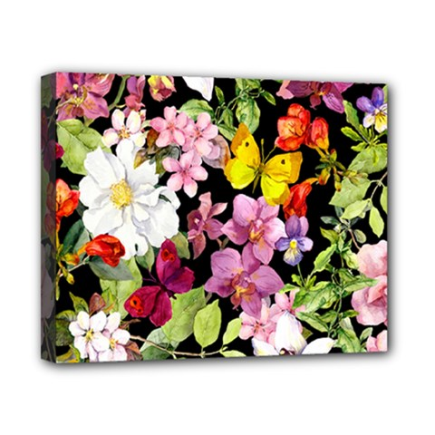Beautiful,floral,hand painted, flowers,black,background,modern,trendy,girly,retro Canvas 10  x 8