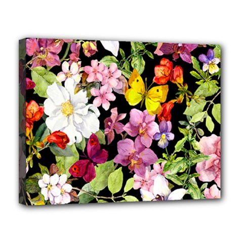 Beautiful,floral,hand painted, flowers,black,background,modern,trendy,girly,retro Canvas 14  x 11
