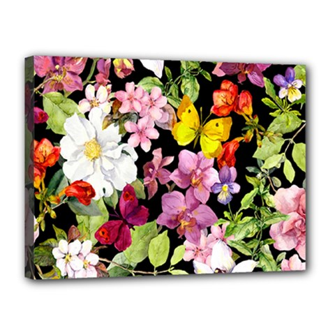 Beautiful,floral,hand painted, flowers,black,background,modern,trendy,girly,retro Canvas 16  x 12