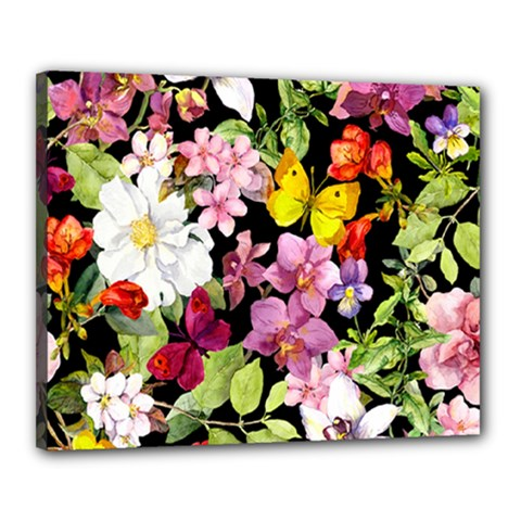 Beautiful,floral,hand painted, flowers,black,background,modern,trendy,girly,retro Canvas 20  x 16
