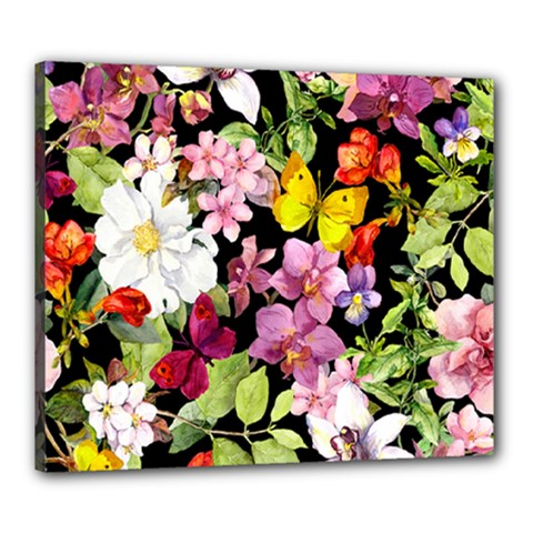 Beautiful,floral,hand painted, flowers,black,background,modern,trendy,girly,retro Canvas 24  x 20