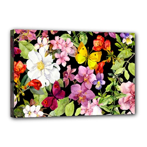 Beautiful,floral,hand painted, flowers,black,background,modern,trendy,girly,retro Canvas 18  x 12