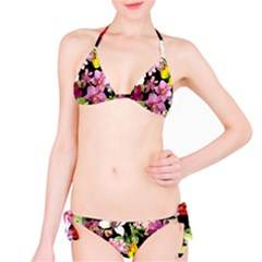 Beautiful,floral,hand painted, flowers,black,background,modern,trendy,girly,retro Bikini Set