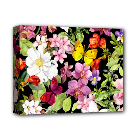 Beautiful,floral,hand painted, flowers,black,background,modern,trendy,girly,retro Deluxe Canvas 14  x 11