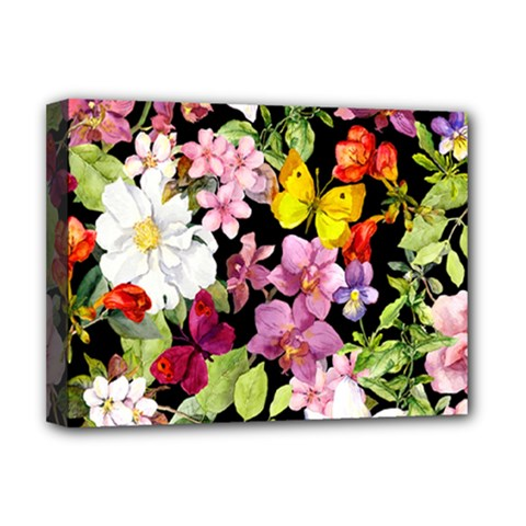 Beautiful,floral,hand painted, flowers,black,background,modern,trendy,girly,retro Deluxe Canvas 16  x 12