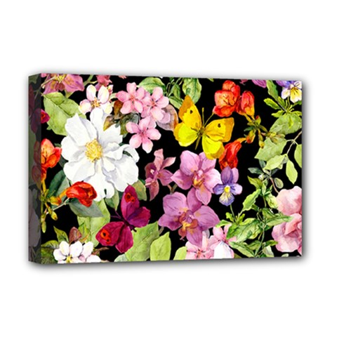 Beautiful,floral,hand painted, flowers,black,background,modern,trendy,girly,retro Deluxe Canvas 18  x 12