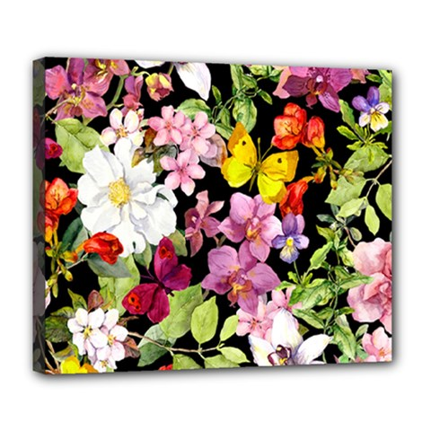 Beautiful,floral,hand painted, flowers,black,background,modern,trendy,girly,retro Deluxe Canvas 24  x 20