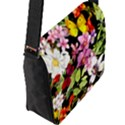 Beautiful,floral,hand painted, flowers,black,background,modern,trendy,girly,retro Flap Messenger Bag (L)  View2