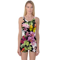 Beautiful,floral,hand painted, flowers,black,background,modern,trendy,girly,retro One Piece Boyleg Swimsuit