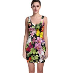 Beautiful,floral,hand painted, flowers,black,background,modern,trendy,girly,retro Bodycon Dress