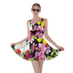 Beautiful,floral,hand painted, flowers,black,background,modern,trendy,girly,retro Skater Dress