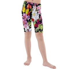 Beautiful,floral,hand painted, flowers,black,background,modern,trendy,girly,retro Kids  Mid Length Swim Shorts