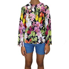 Beautiful,floral,hand painted, flowers,black,background,modern,trendy,girly,retro Kids  Long Sleeve Swimwear