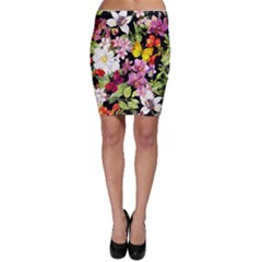 Beautiful,floral,hand painted, flowers,black,background,modern,trendy,girly,retro Bodycon Skirt