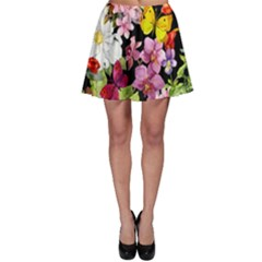 Beautiful,floral,hand painted, flowers,black,background,modern,trendy,girly,retro Skater Skirt