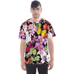 Beautiful,floral,hand painted, flowers,black,background,modern,trendy,girly,retro Men s Sports Mesh Tee